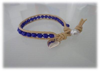 Bracciale moda primavera estate 2014 stile chan luu cordoncino cerato naturale e perle sfaccettate blu elettrico