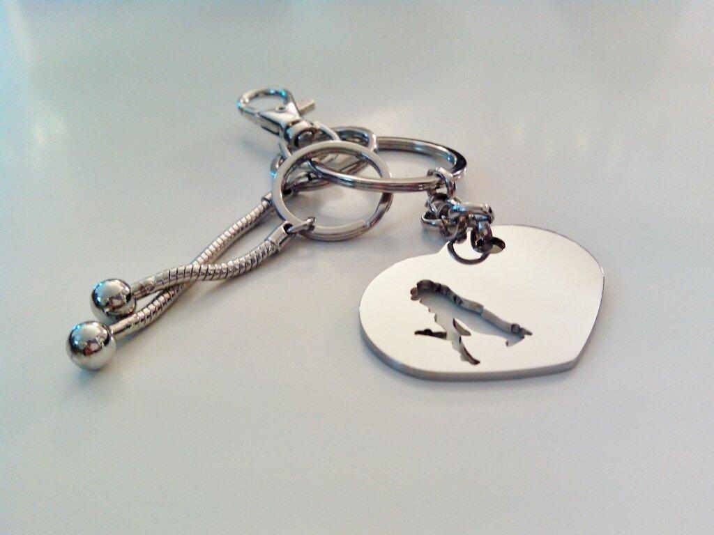 Portachiavi a cuore - Besito in acciaio Adornos