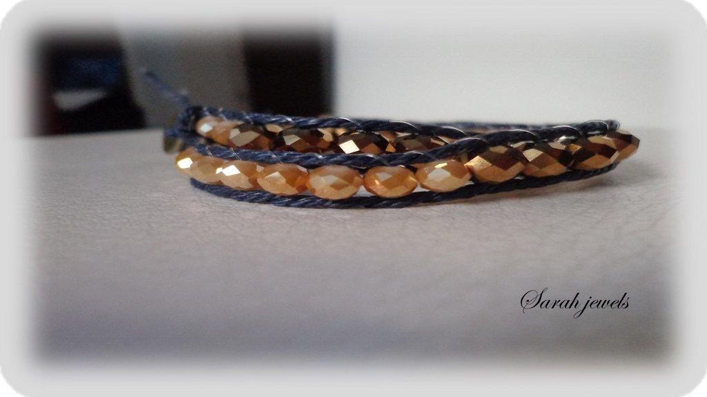 Bracciale moda primavera estate 2014 stile chan luu cordoncino blu e perle sfaccettatecolor ambra e oro