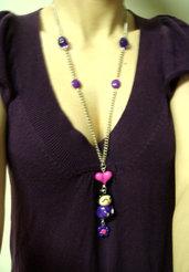 Collana giapponesina viola in fimo!