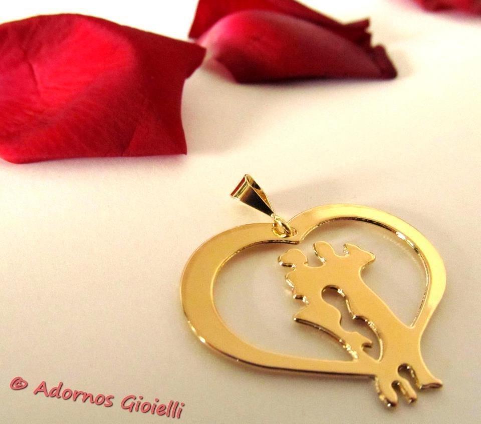 Ciondolo tango Corazòn oro giallo Adornos