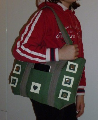 borsa verde/grigio con applicazioni