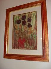 Quadro dipinto interamente a mano con rose secche