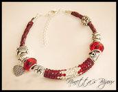 Bracciale in cuoio rosso con perle a foro largo