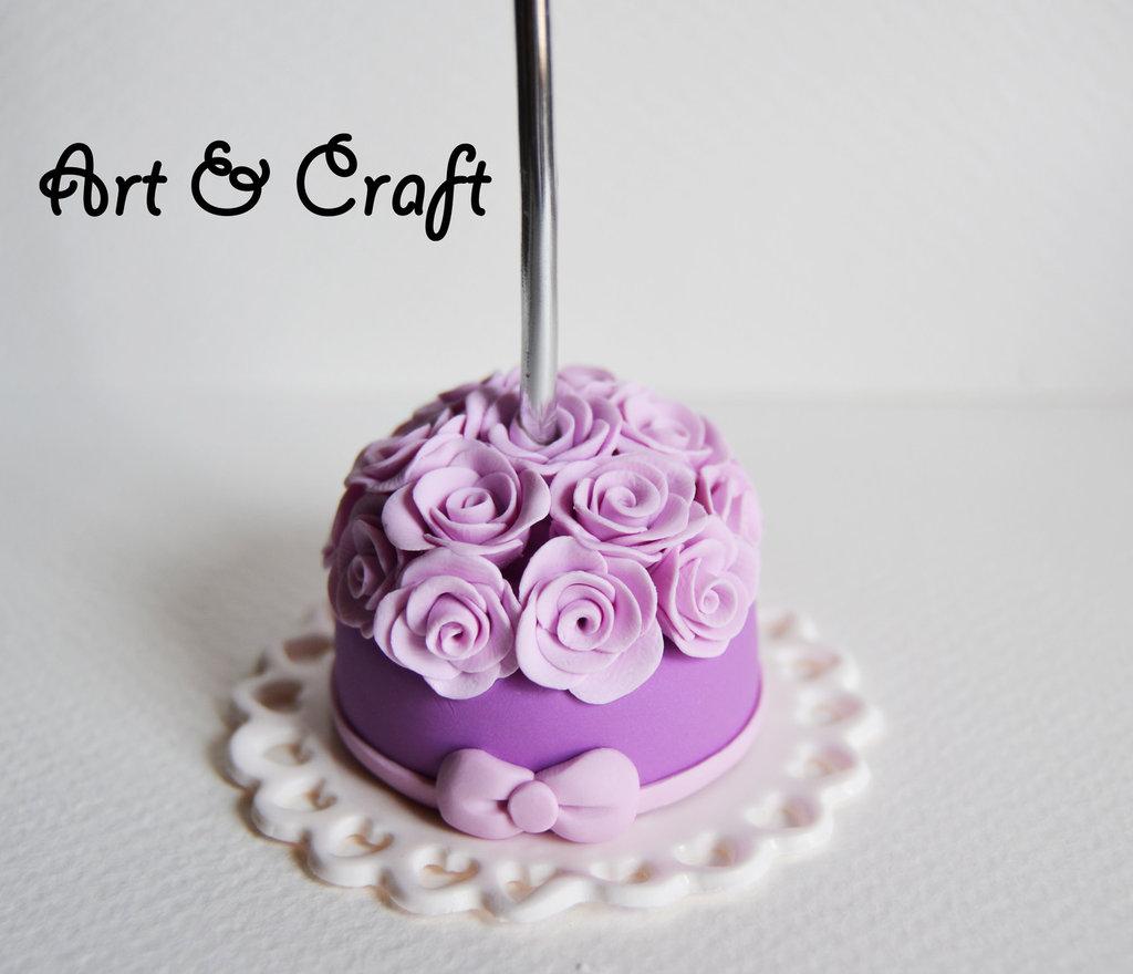 segnaposto in fimo torta rose