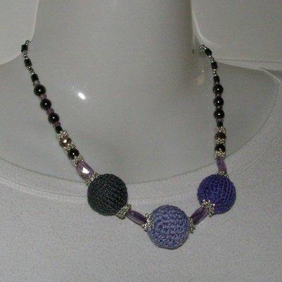 collana cotone viola e grigio