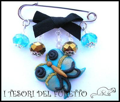 """Spilla """"Farfalla turchese/oro"""" fimo cernit vintage elegante Festa della mamma"""