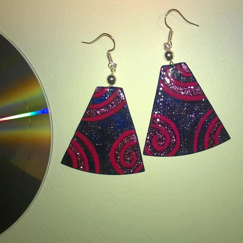 Orecchini CD dipinti a mano #2