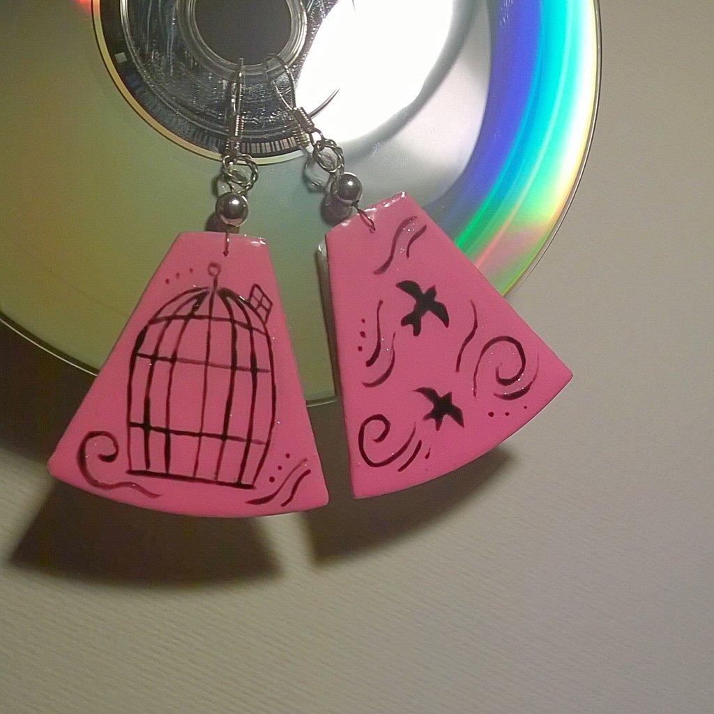 Orecchini CD dipinti a mano #1