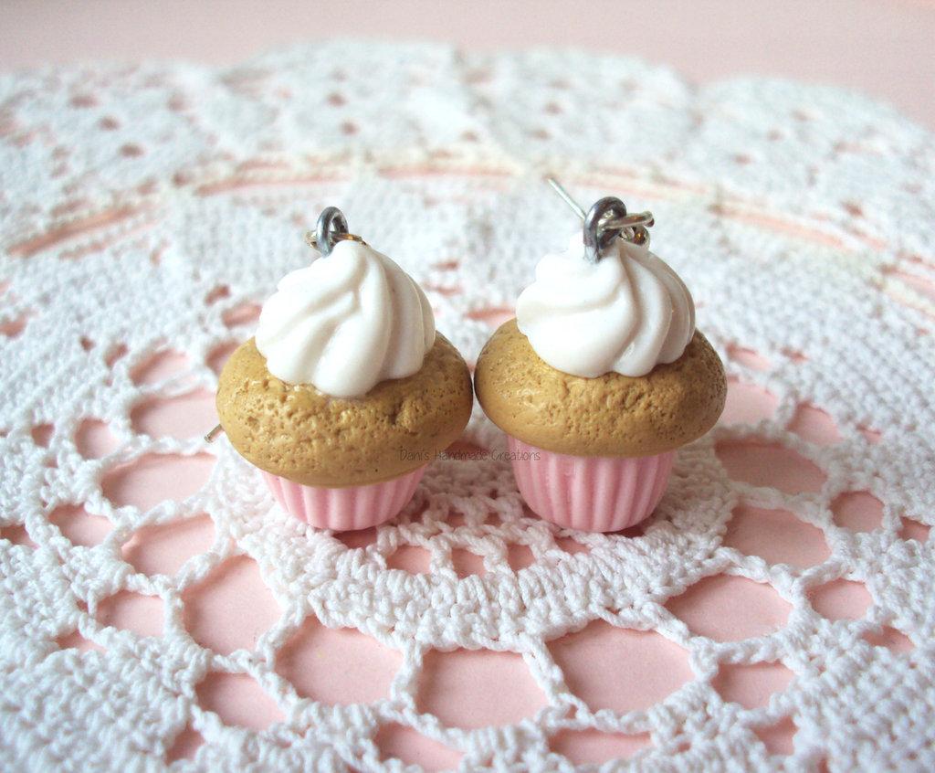 orecchini cupcakes rosa in fimo