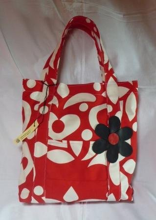 borsa in tessuto fantasia rosso-bianco