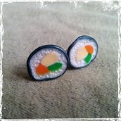 Orecchini Clip Maki. Sushi in Fimo.