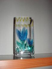 vaso dipinto a mano in crstallo