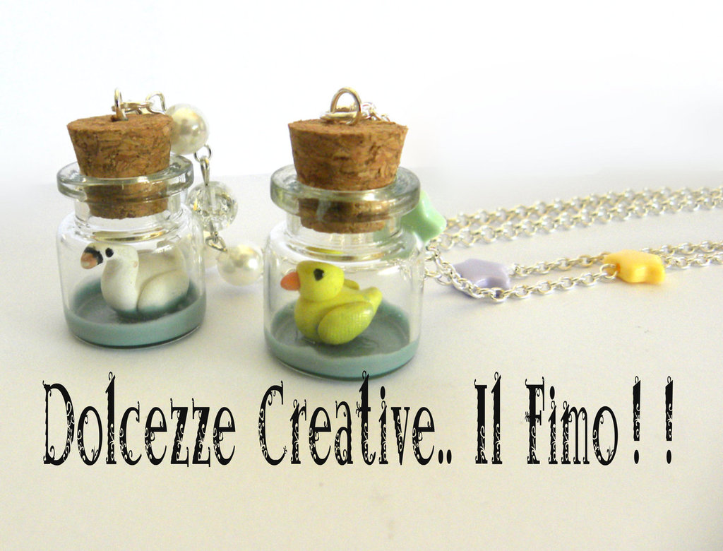 Collana Bottiglia Cigno in miniatura kawaii