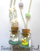 Collana Bottiglia Papera  - Paperella  in miniatura kawaii