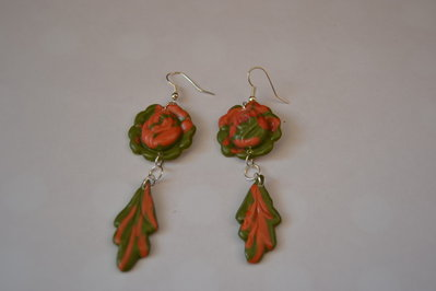 orecchini  fiore arancio-verde