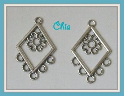 2 basi connettori per orecchini a rombo