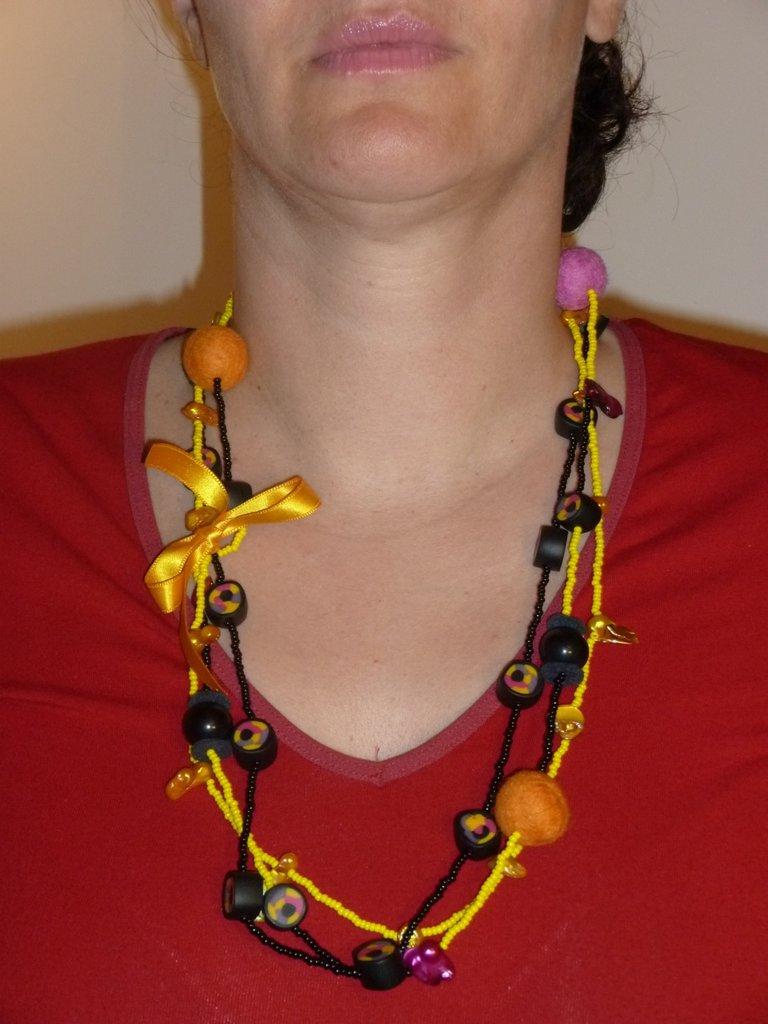 collana in perle di vetro multifilo