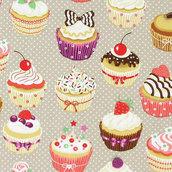 Tessuto in cotone  cupcake