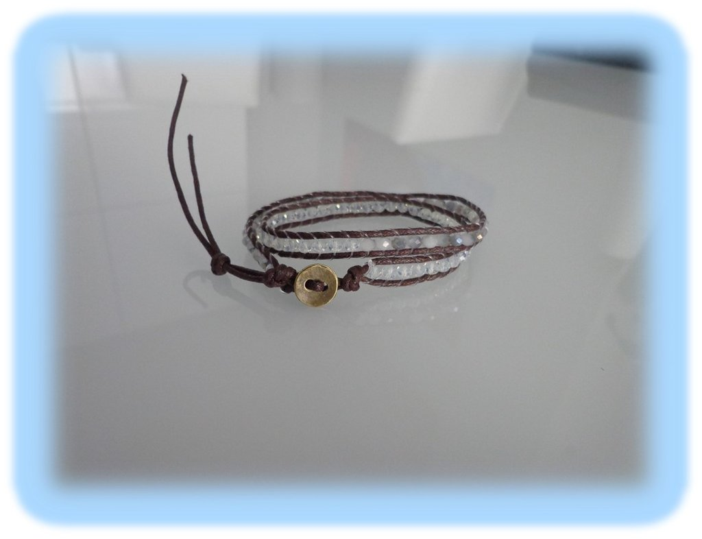 Bracciale moda uomo primavera estate 2014 stile chan luu wrap bracialet  doppio giro cordoncino color cuoio e perline bianco/grigio