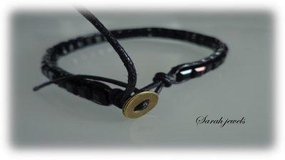 Bracciale moda uomo primavera estate 2014 stile chan luu  cordoncino nero e perle sintetiche quadre nere
