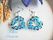 Orecchini pendenti con cuore di colore azzurro tiffany San Valentino
