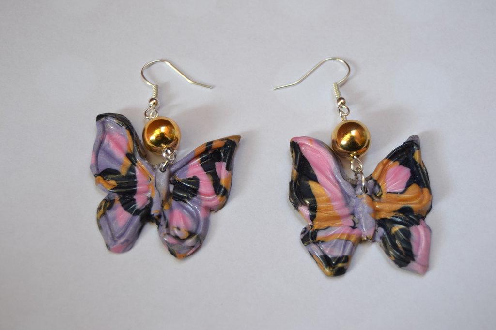 orecchini farfalla con sfera oro