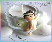 "Bomboniera Segnaposto  Portacandela ""Fufufangel Bianco"" -angelo-angioletto-kawaii-matrimonio-nascita-battesimo-cresima-comunione-fimo-cernit-kawaii"