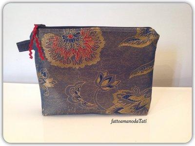 Pochette in broccato di seta blu,rosso,oro