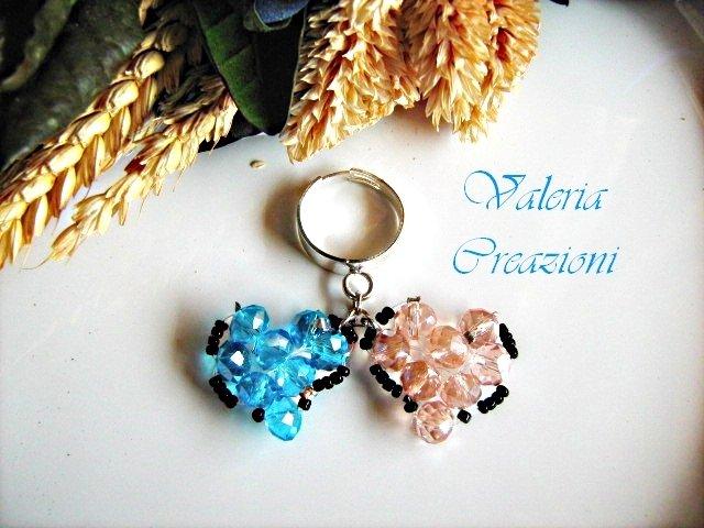 Anello regolabile con cuori pendenti rosa e azzurro tiffany San Valentino