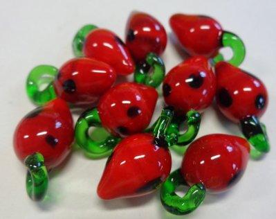 10 Perline FRAGOLE ROSSE in Vetro