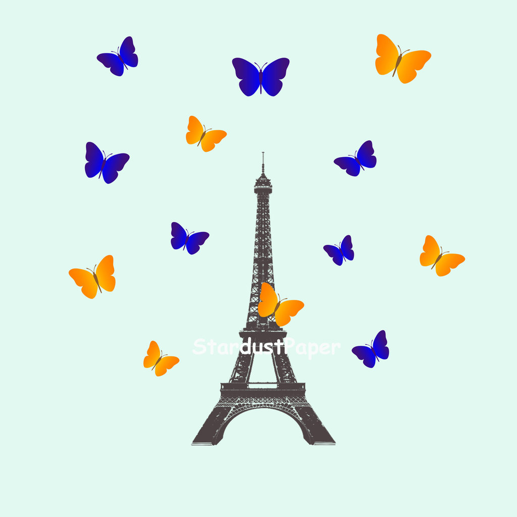 Carta Digitale Con Torre Eiffel E Farfalle Colorate