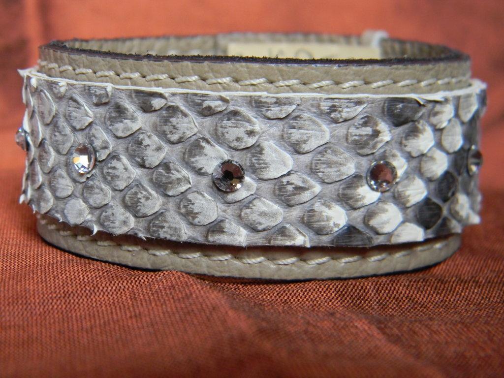 Bracciale vera pelle con swarovski