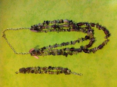 Set collane e bracciale pietre ametista chiusura argento antico
