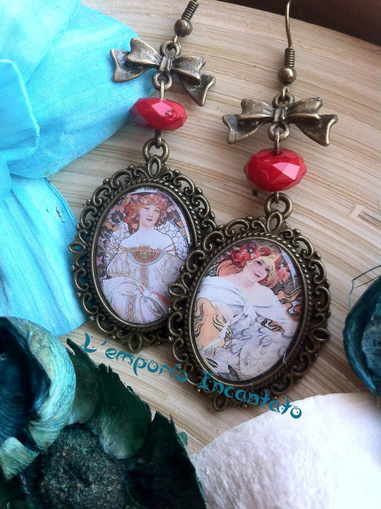 """Orecchini """"I love Art"""" perle rosse, fatti a mano"""