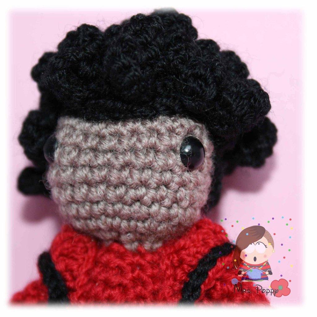 Portachiavi uncinetto amigurumi Michael Jackson