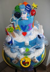 Torta di pannolini - Nuvola azzurra Deluxe