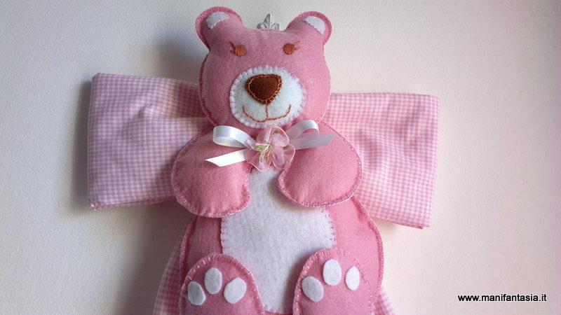 fiocco nascita orsetto rosa per bimba