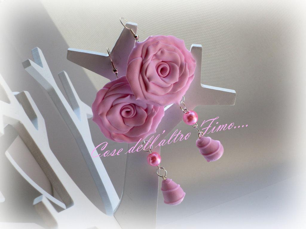 Orecchini Rose Grandi Color Rosa