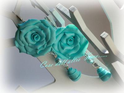 Orecchini Rose Grandi Color Tiffany