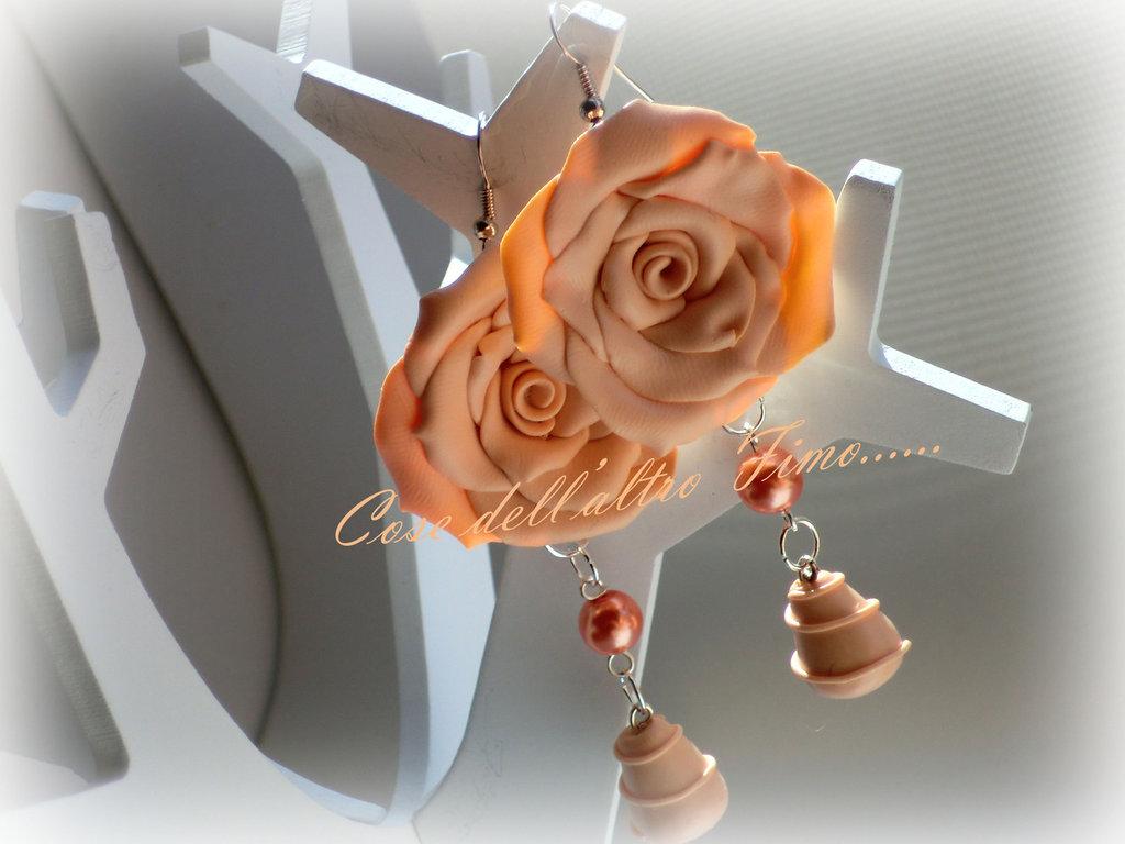 Orecchini Rose Grandi Color Pesca
