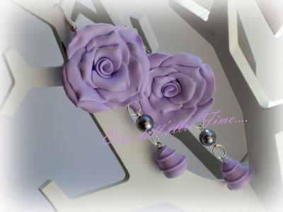 Orecchini Rose Grandi Color Lilla