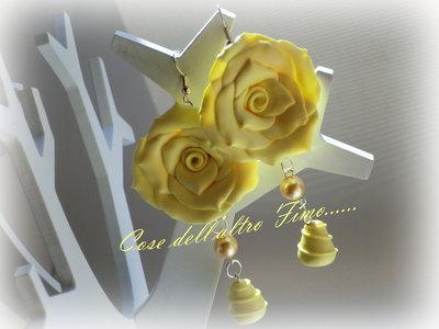 Orecchini Rose Grandi Color Vaniglia