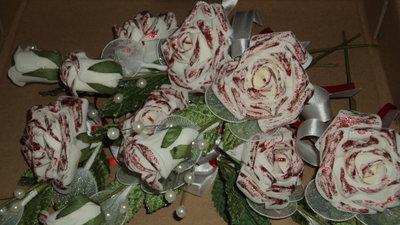 """segnaposto decorati a mano con glitter rosso """"rose"""""""
