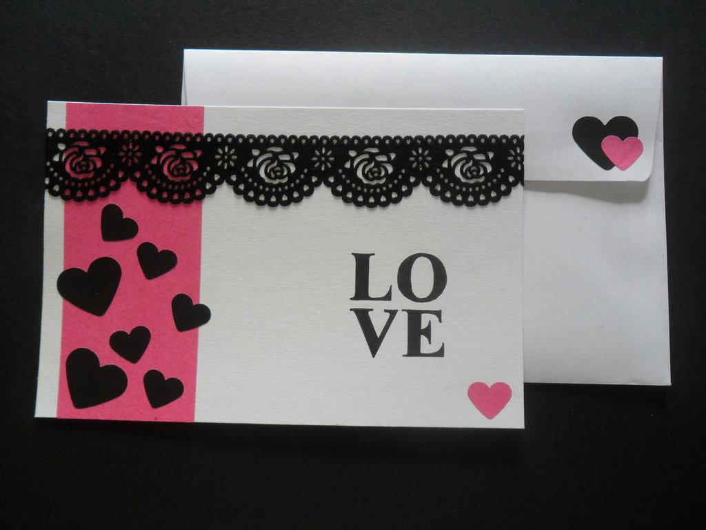 """Biglietto """"love"""" rosa"""