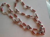 Collana con perle swarovski, cristalli boemia ed argentoni