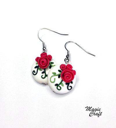 Orecchini Rose in Fimo