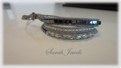 Bracciale moda primavera estate 2014 stile chan luu  triplo giro cordoncino color grigio e perle in vetro e altri materiali