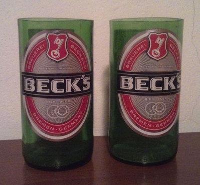 3 Bicchieri Birra Beck's ottenuti da bottiglie