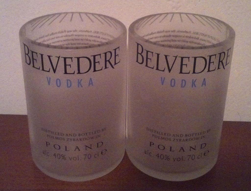 Bicchieri bottiglia vodka Belvedere tumbler vetro